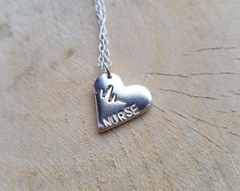 Silver Nurse Necklace Pendant Nurse gift Nurse Charm Silver Necklace Nurse Jewellery Nurse retirement Nurse