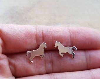 Horse Earrings Stud, Silver Earrings, Horse Silver Earrings, Horse Jewellery, Sterling Silver Horse, Equestrian Earrings