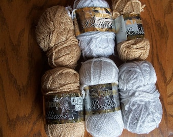 Lot of Patons Brilliant Yarn,White Twinkle,Gold Glow - FREE SHIPPING