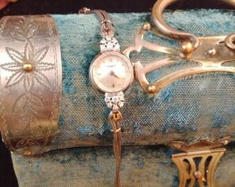 Antique Art Deco Tissot Dainty Diamond White Gold Ladies Watch 17 Jewel