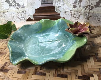 Lily Pad Serving Bowl Pink and Yellow Lotus Sculpture