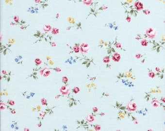 Flower Fields - Small Rose Fabric - Small Floral Fabric - Blue Fabric - Lecien Fabric