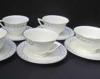 Vintage Knowles China - Hostess Shape - Platinum Geometric Pattern on Creamy White Cups  and  Saucers - Set of 5 cups and saucers
