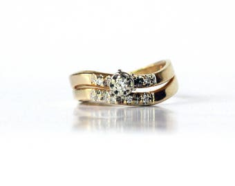 Vintage diamond 14K yellow gold 1940s woman's engagement and wedding ring set