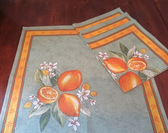 Cotton Napkins.Set of 2-4-6-8-10 napkins.Table setting. Fabric from Provence , France. Lemons in green
