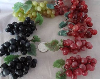 Craft Supplies - Miniature Grapes in Red, Green and Purple