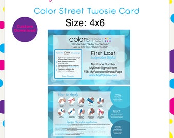 Color Street Twosie 11 Blue 4x6 --Custom Digital Download