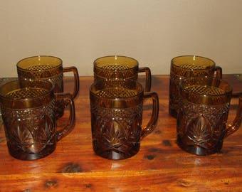Vintage 70's J.G. Durand Cristal D'Arques Luminarc France Amber Cut Glass Coffee Mug Glass Set of Six (6)