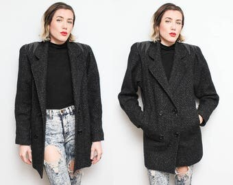 80s Gray Wool Leather Trim Coat // Oversized Double Breasted Shoulder Pad Power Woman Jacket Size 8 Small Medium