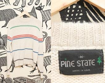 80s Striped Ivory Wool Sweater // Unisex Retro Preppy Hipster Pine State Sweatshirt Size Medium