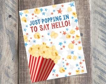 Hello Summer Greeting Card Printable - Just Popping In Card - Popcorn Card - 4.25 x 5.5 card - Printable PDF