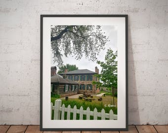 Historical art print, old stone house print, Sault Ste Marie house, Charles Ermatinger, 1800 houses, Sault history, mid centry, fur traders