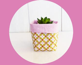 Mini plant pot fabric 9 x 8 cm for mini plant / cactus green and pink fabric retro geometric and zig - zag mini