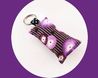 Japanese mauve and purple flowers fabric key fob