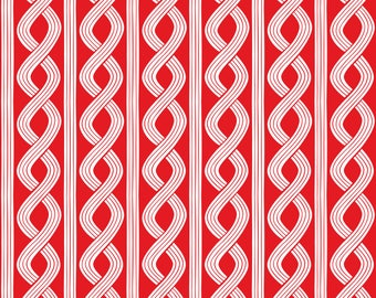 Red and White Braid Fabric/Blend Basic/Cotton Sewing Material/Quilting, Clothing, Craft/Fat Quarter, Half, or  By the Yard, Yardage
