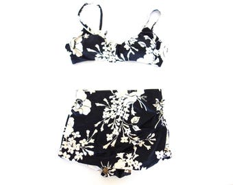 Vintage 1960s Hawaiian Print 2pc Bathing Suit, Black white Floral Print Bikini, Boy Short style, Size Small