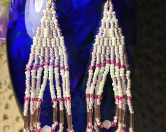Beautiful Pink and White Native American Southwestern Beaded Earrings with Swarovski Crystals and Miyuki Seed Beads, unique and eye catching