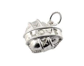 Sterling Silver Puffed Heart Charm For Bracelets