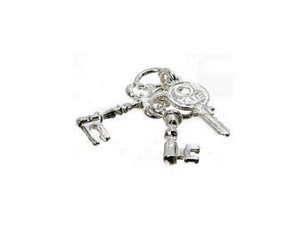 Sterling Silver Keys To My Heart Charm For Bracelets