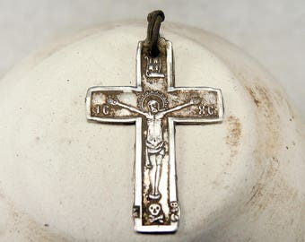 Antique Sterling Silver Cross Jesus Christ Crucifix