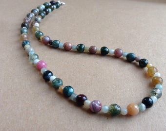 Gemstone Necklace, Blue Necklace, Brown Necklace, Green Necklace, Agate Necklace, Blue Amazonite and Agate Necklace