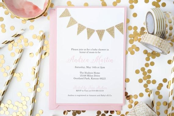 Gold Glitter Bunting invitation Gold flags invitations birthday