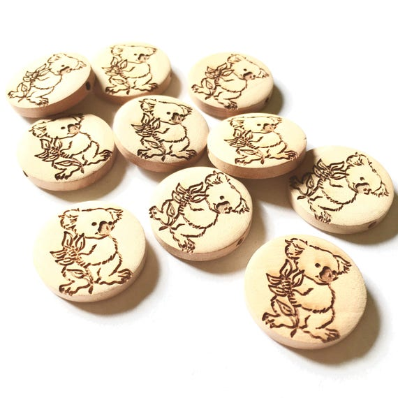Bead Supplies-6 Pieces. Australian Koala - Natural Wood Beads- 25 mm -Bead Supplies-Little Laser Lab.