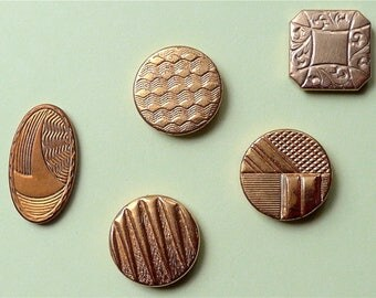 Cufflink buttons, 5 different,  4 are Art Deco, vintage.    Buttons for the backs of cufflinks, 4 are gilt. c1920's-40's.