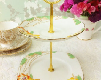 "Royal Albert ""Daffodil"" 2 Tier Mini Cake Stand"