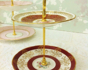 Vintage Burgundy Banded 2 Tier Mini Cake Stand with Gold Filigree decoration,