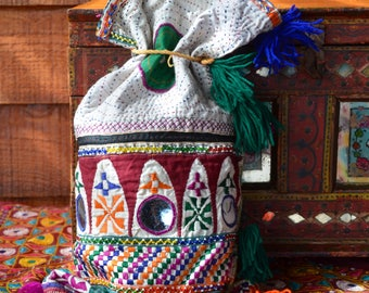 Old gypsy textile sack bag kanthan stitched embroidered sack vintage Indian nomad boho decor mirrored tassels hand made stitched