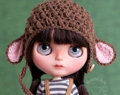 Lamb hat for Blythe, light brown