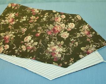 Reversible Olive Green Floral Table Runner with Tassels handmade by Jane Ellen