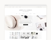 "Wordpress Theme - Wordpress Ecommerce Theme - Genesis Theme - Fashion Blogger Theme - ""Amelia"" Instant Digital Download"