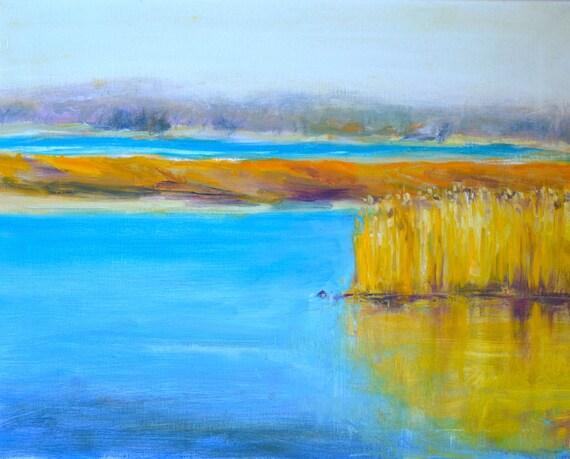 "Marsh reflections, Original oil painting, Large landscape, Plum island marshes, New England, 16"" X 20"", Horizontal, Bright blue, mustard"