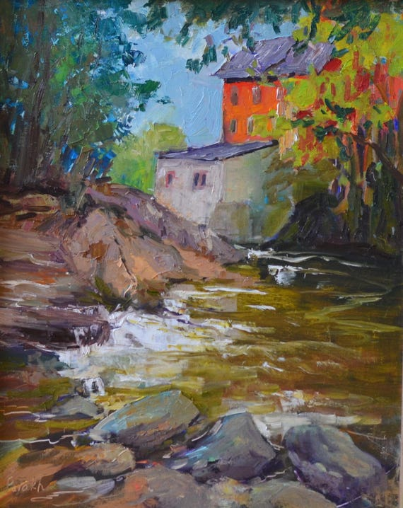 By the river, Landscape painting Original oil, River and rocks,  New England, Plein air, fine art