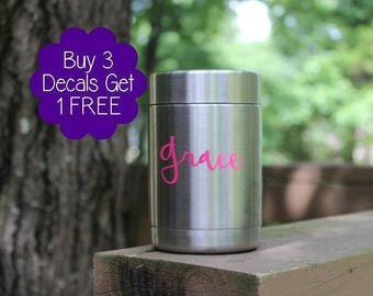 Make a Colster/Yeti/Swell Bottle special-add a decal! Choose size, monogram or name & vinyl color. Ships in 3 days! Buy 3 decals get 1 free!