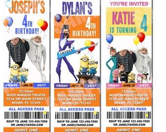 Despicable Me 3 Invitations, Despicable Me 3 Movie Invitations, Despicable Me 3 Birthday Invitation, Despicable Me Invitations, Minions