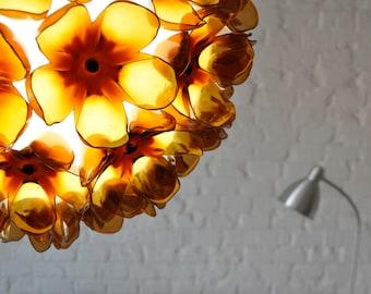 Recycled PET bottle  flower beer brown warm globe pendant chandelier lamp plastic