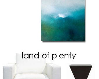 Landscape Original Art Painting Canvas Small Square Blue Green Water Sky Clouds Textured Abstract Modern Contemporary USA Low Shipping