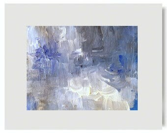 DESIGNER JEANS Original Modern Abstract Contemporary Impasto Art Painting Canvas Acrylic Matted to Frame USA Free Shipping Blue Grey White