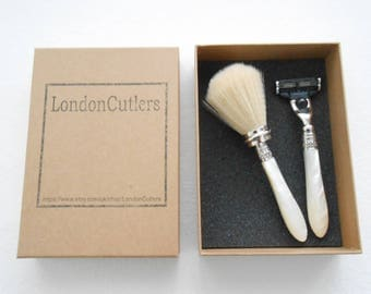 Shaving Brush and Mach 3 Razor with Reclaimed Mother of Pearl Handles Recycled from Antique Cutlery by LondonCutlers Leaf Carving
