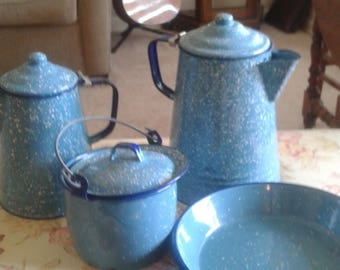Vintage Blue Speckled Enamelware