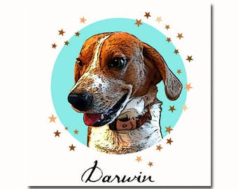 Custom pet portrait with stars, custom pet digital poster, pet portraits, Pet memorial, custom pet digital print