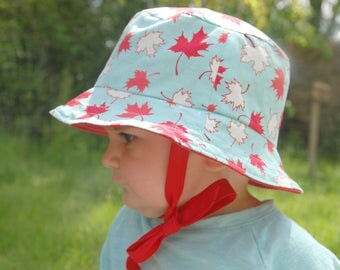 Reversible Sunhat Bucket Hat Boys Baby Hat Summer Hat Canada Day Maple Leaf Red White Canada 150