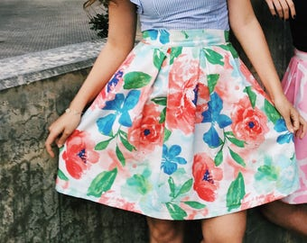 Women's Watercolor Floral Skirt with Pockets