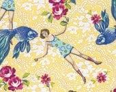 Tokyo Milk Quilt Fabric What Would Poseidon Say? Neptune and the Mermaid Free Spirit Fabrics Yellow Floral Fabric Fish Fabric Nautical