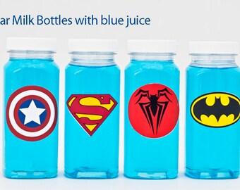5 or More Superhero Milk Bottles, Plastic Milk Bottles, Superhero Party Drink Bottles, Superhero Party Bottles