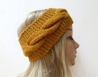 Gold Wool Cable Headband - Women Knit Headband  - Hand Knitted Wool Cabled Ear Warmer - Aran Eco Friendly Headband - Clickclackknits