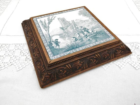 Large Vintage Ceramic and Carved Oak Square Trivet / Heat Mat with White and Teal Blue Scene of Rural France, French Serving Tableware